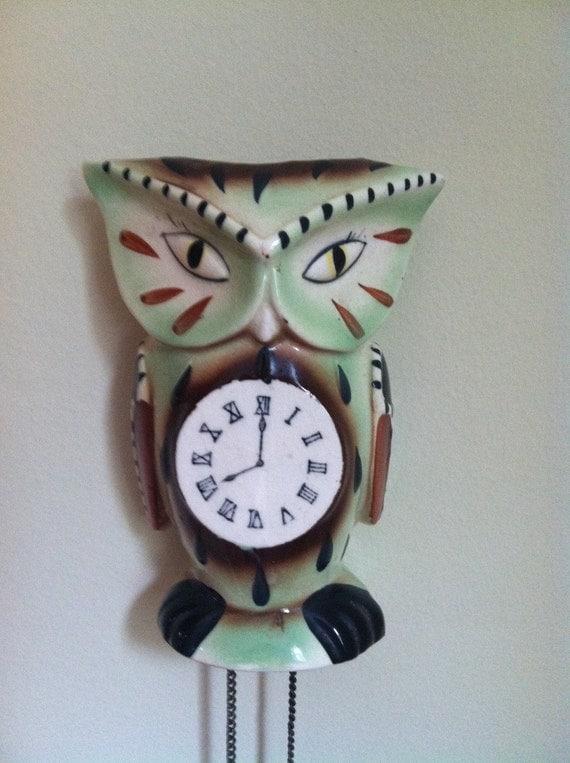 Sale Vintage Japanese Ceramic Owl Cuckoo Clock Wall Pocket