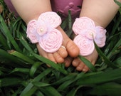 Baby Barefoot Sandals - Soft Pink Rosettes