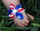 Baby Barefoot Sandals  - Red, White, & Blue