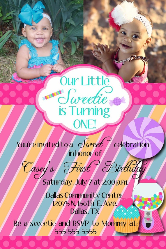 Custom Candy Sweet Shoppe Digital Birthday Photo Invitation for your Little Sweetie you print