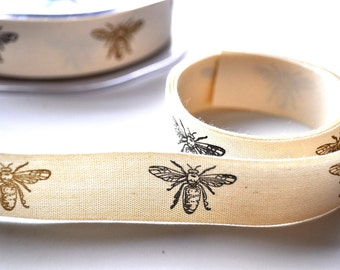 5 yards queen bee cotton ribbon - trim - party favor - scrapbooking - gift wrap - cardmaking