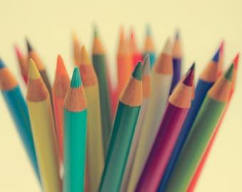 Colored Pencils photo Digital Download Fine Art Photography rainbow print still life wall art