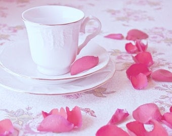 Teacup and Rose Petals photo Digital Download Fine Art Photography teacup red rose print still life wall art decor