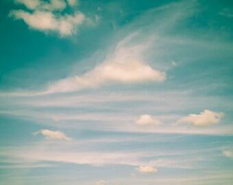 Sky Photograph Digital Download Teal sky cloud pastel dreamy vintage wall art