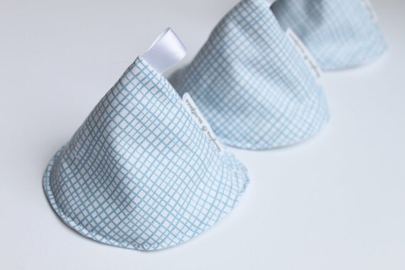 """Trio of Peepee TPs - with no exposed seam, 3"""" tall - in Michael Miller Random Pencil Check (Blue and White)"""