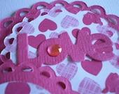 Set of 4 Handmade  Valentines Day Scrapbooking/ Card Making Embellishments