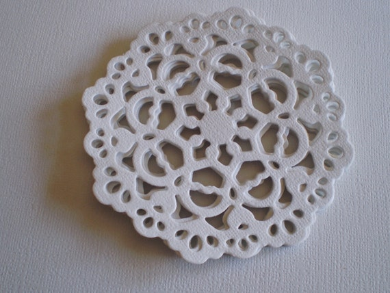 White Die Cut Paper Doilies - set of 6