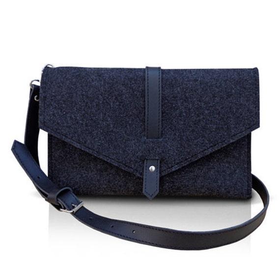 Felt Bag With Leather Strap - SWAN BLACK BAG