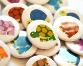 """Rainbow of Turtles Button Set - 9 buttons - 1.5"""""""