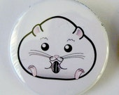 Chubby All White Winter Hamster Pinback Button