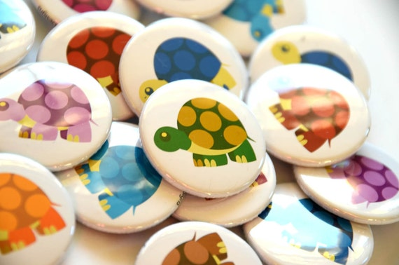 Rainbow of Turtles Button Set - 9 buttons - 1.5""