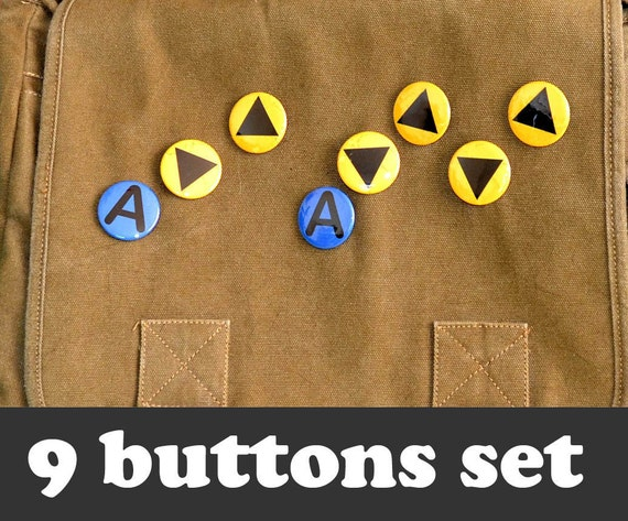 Legend of Zelda Buttons - 1.5 inch or 1 inch Ocarina of Time Music Keys (9 Buttons) - Control Button, Song of Storms, Epona's Song, Gamer