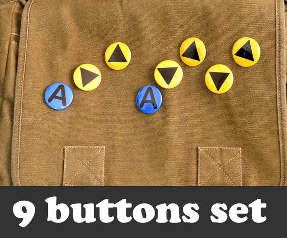 Legend of Zelda Buttons - Ocarina of Time Music Keys (9 Buttons) - 1.5 inch
