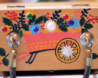 Vintage Gary Gails Childs Wooden Box Purse with Faux Jewels and Painted Flower Cart
