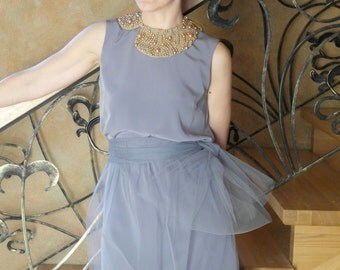 Pigeon grey straight-cut silk dress with tulle skirt