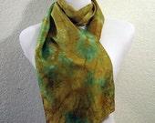Silk Scarf with Blue and Brown Pattern--Shibori