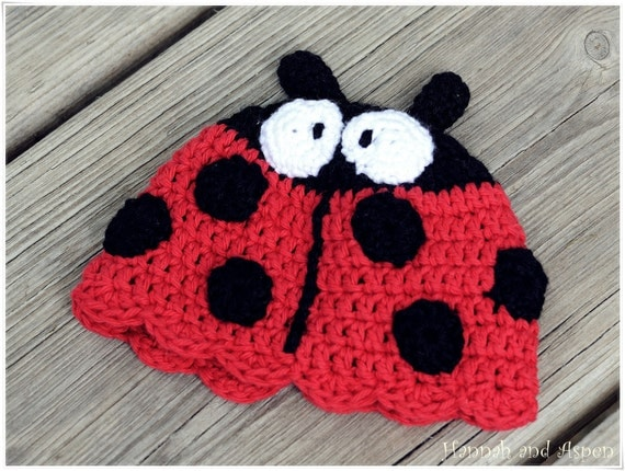 Crochet baby hat - Infant crochet hat - Lady Bug hat in Black and Red - crochet beanie hat - For 0-3 month baby - Crochet ladybug beanie