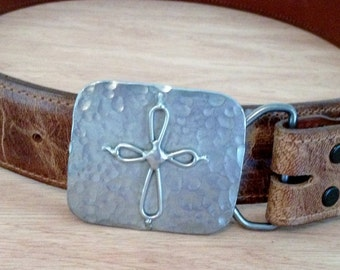 Hammered Cross Belt Buckle