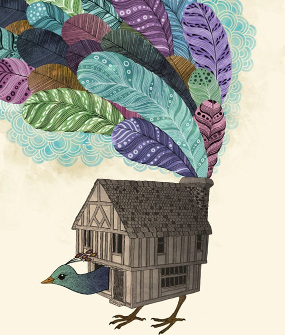 Birdhouse Revisited  - fine art print 9x12 limited edition of 100 hand signed, numbered and dated