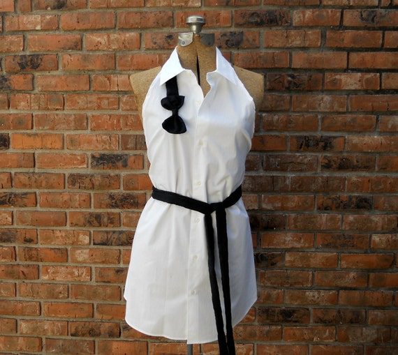 "Sexy Black and White Bow Tie Full Kitchen Apron ""Ross"" Upcycled from Collared Button Down Shirt"