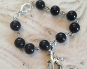 Children's/girl's black bead deer bracelet