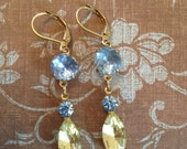 Dangling light sapphire and lemon lime earrings