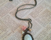 Ivory and pink flower necklace