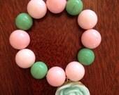 Children's/girl's pink bead and mint rose bracelet