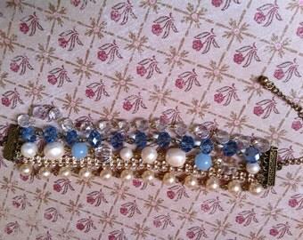 Blue tone 5 strand beaded bracelet