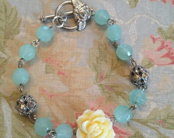 Mint green, silver and cream rose bracelet