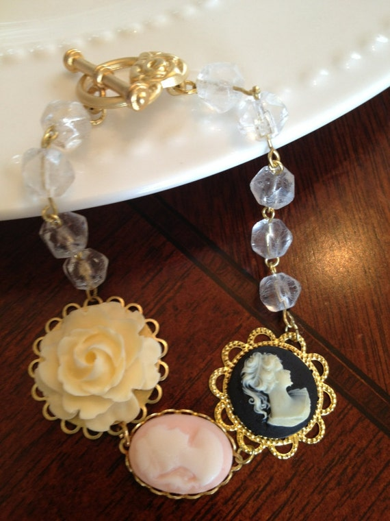 Cameo and rose bracelet