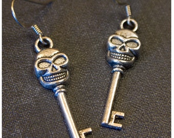 Skull KEY Silver Colored Dangle Earrings by Watto's Wife / Halloween Earrings / Biker Earrings / Creepy/ Pirate Earrings / Gift for Her