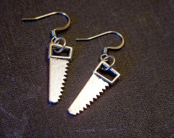 HANDSAW Silver Colored Dangle Earrings by Watto's Wife / Zombie Slayer / Edgy Gifts For Her / Geekery / Weapon / Horror / Silver Saws