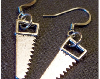 HANDSAW Silver Colored Dangle Earrings by Watto's Wife / FREE shipping in US