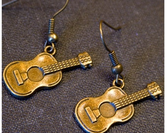 GUITAR Antique Gold Dangle Earrings/ Gifts for Music Lovers/ Musician Jewelry / Gifts for Musician / Guitar Jewelry/ Guitarist Jewelry