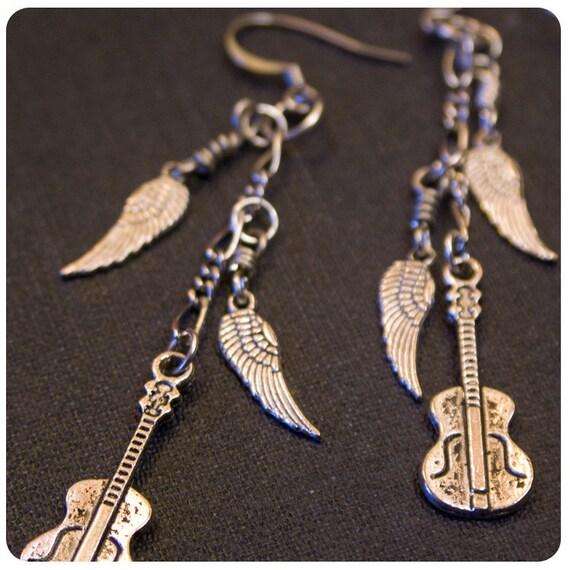 Rocker Silver Wigned Guitar Dangle Earrings by WATTO's Wife