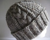Hand Knitted Gray Tweed Braided Cable Watchcap