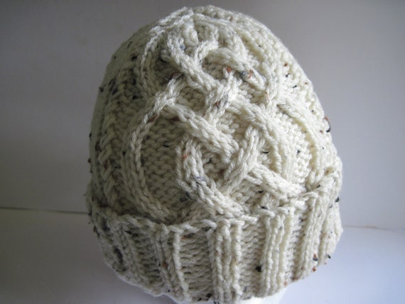 Hand Knitted Ivory Tweed Single - Panel Celtic Plait Watchcap