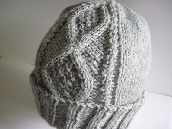 Hand Knitted Gray Heather Moss-in-Diamonds Watchcap