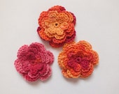 Crochet Flowers Applique, Pink, Orange, Fuchsia, Cotton, Ready To Ship
