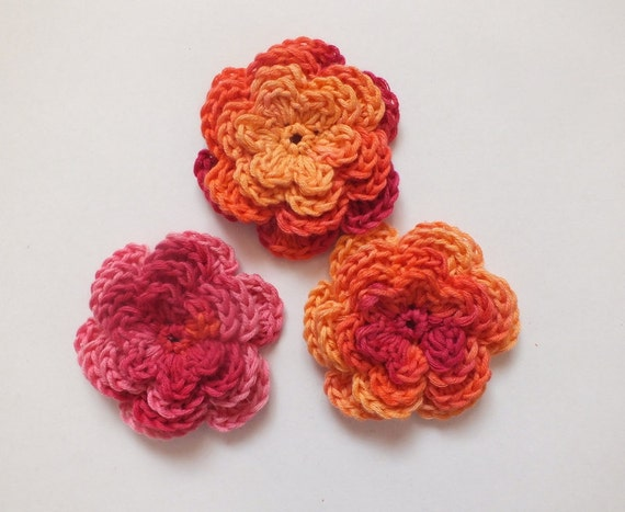 Crochet Flowers Applique, Pink, Orange, Fuchsia, Cotton, Ready To Ship