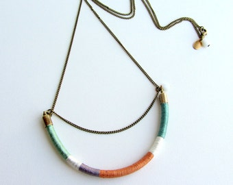 Ethnic brass and leather necklace. Multi strand necklace. Tribal long thread necklace.