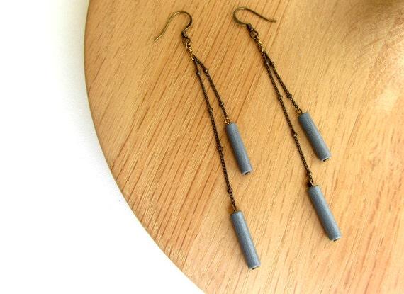 Blue grey stone long chain earrings