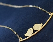 Gold Lovebirds Necklace - Gold Bird Necklace - Birds on a Branch on 14K Gold Filled Chain - Initial Stamp - Sparrow Necklace