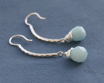 Sterling Silver and Light Blue Amazonite Drop Earrings - Faceted Gemstone Briolettes - Hammered Earrings - Sterling Jewelry Drop Earrings
