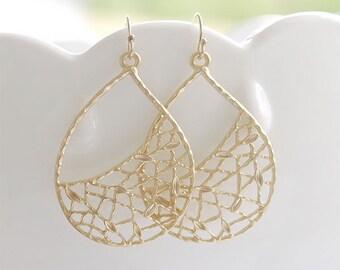 Large Gold Teardrop Earrings - Gold Teardrop Earrings on Gold Filled Earwires - Big Gold Earrings