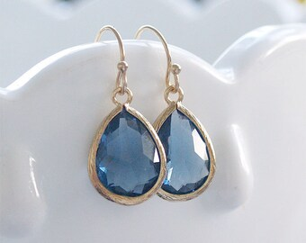 Navy Drop Earrings in Gold - Sapphire Earrings on Gold Filled Earwire - Faceted - Sapphire Blue, September Birthstone