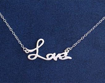 Love Necklace in Silver - Love Script on Sterling Silver Chain - Anniversary Gift, Birthday Gift