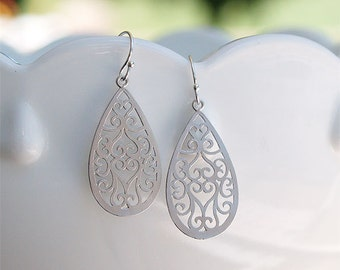 Silver Teardrop Earrings - Matte Filigree Teardrops on Sterling Silver Earwires