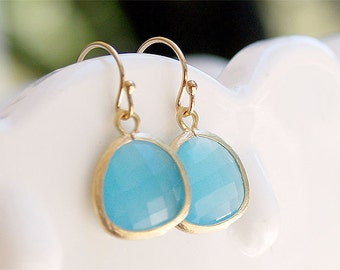 Aqua Blue Drop Earrings in Gold - Gold FIlled Earwire - Blue Stone Earring - Gifts, Bridesmaids